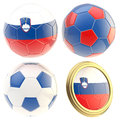 Slovenia football team attributes isolated set of four soccer ball on white Royalty Free Stock Photos