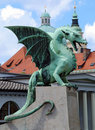 Slovenia Ljubljana Dragon at Zmajski most Stock Photos