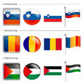 Slovenia and Romania, Palestine Flag Icon. The world national Ic Stock Photography