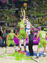 Slovenia vs dominican republic alen omic and eloy vargas at fiba world cup basketball match between and final score on september Royalty Free Stock Images