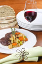 Slow Cooked Beef Shank Served with Red Wine Stock Images