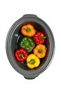 Slow cooker stuffed bell pepper in a ready to cook Stock Image
