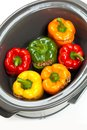 Slow cooker stuffed bell pepper in a ready to cook Royalty Free Stock Photography