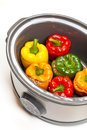 Slow cooker stuffed bell pepper in a ready to cook Stock Photography