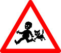warning kids and pets playing Royalty Free Stock Photo