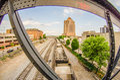 Slow moving coal wagons on railway tracks Royalty Free Stock Photos