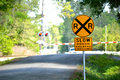 Slow Rough Railroad Crossing sign Royalty Free Stock Photo