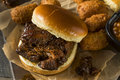 Slow Smoked Brisket Burnt Ends Sandwich Royalty Free Stock Photo