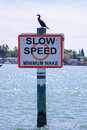 Slow speed sign in Tampa Bay Royalty Free Stock Photo