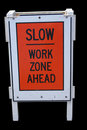 Slow work zone Stock Photo