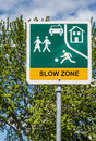 Slow Zone Traffic Sign Royalty Free Stock Photo