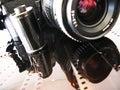 SLR camera and film Royalty Free Stock Photo