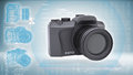 Slr camera on a hi tech blue background the concept of future technology Stock Images