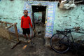 Slum boy a stand infront of his home at their dirty locality in jharia jharkhand Stock Photography