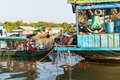 Slums in cambodia boats on tonlesap near laker Stock Image
