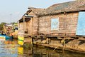 Slums in cambodia near water tonle sap lake Stock Image