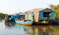 Slums in cambodia on tonle sap lake Royalty Free Stock Image