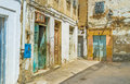 The slums of sfax tunisia september old residential neighborhood with crambling plaster on building walls neds some restoration on Royalty Free Stock Image