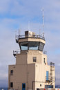 Small air traffic control tower big glass windows Royalty Free Stock Photo