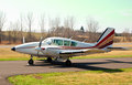 Small aircraft at private rural airfield Royalty Free Stock Image
