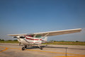 Small airplane with propeller in front. Royalty Free Stock Photo