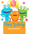 Small Alien Creature. Monster Party Invitation Card Design With Place For Text.