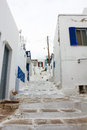 Small alley of mykonos a in the town fira on the island greek with the copestone street and the white houses Stock Images