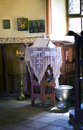 Small altar in the orthodox church a window with vessel christening and biblical book Royalty Free Stock Photography