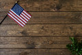 Small American Flag with fern on aged, weathered rustic wooden Background.