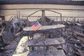 stock image of  Small American flag at site of 1992 riots, South Central Los Angeles, California