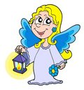 Small angel with lantern Royalty Free Stock Image