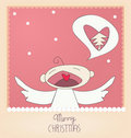 Small angel singing Merry Chirstmas Royalty Free Stock Photo