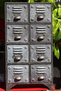 Small antique filing cabinet a metal Stock Photography
