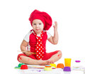 Small artist child painting with brush Royalty Free Stock Photo