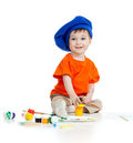 Small artist child with paints Royalty Free Stock Photo