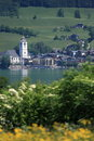 Small Austrian Town by the lake of Wolfgangsee Stock Photography