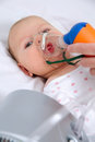 Small babies inhaled doctor s office Stock Photography