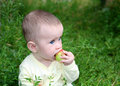 Small baby biting apple Stock Photography