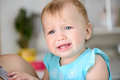 Small baby crying is hard tears stream down her cheeks Royalty Free Stock Photos