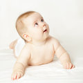 Small baby looking up beautiful months Stock Images