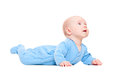 Small baby lying and looking up Stock Photos