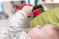 Small baby mobile phone hands Royalty Free Stock Photo