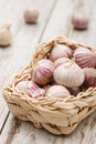 Small basket with garlic Royalty Free Stock Photo