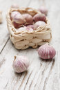 Small basket with garlic Royalty Free Stock Photography