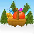 Small basket with gifts on to snow in field illustration Royalty Free Stock Images
