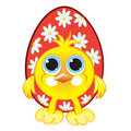 Small beautiful chicken with easter eggs Stock Images