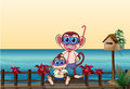 A small and a big monkey at the bridge illustration of Royalty Free Stock Photography