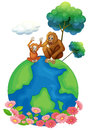 A small and a big orangutan sitting above the planet earth illustration of on white background Stock Images
