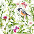 Small bird in spring meadow flowers, butterflies. Repeated pattern. Watercolor Royalty Free Stock Photo