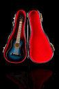 Small blue guitar in its case Royalty Free Stock Photo